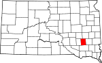 State map highlighting Hanson County