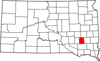Locatie van Hanson County in South Dakota