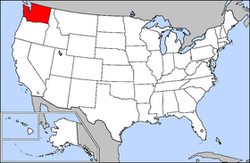 Map of the United States with Washington highlighted