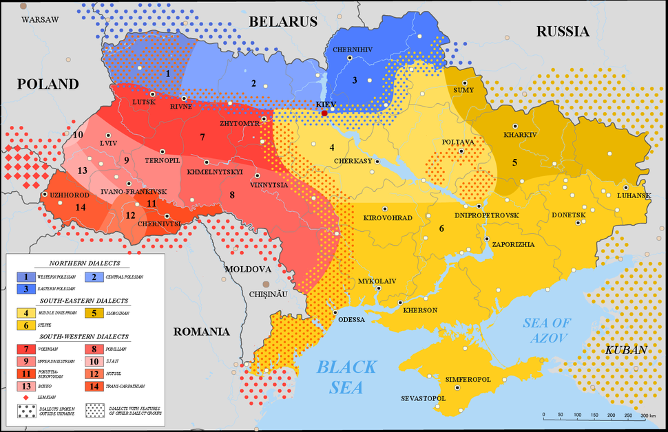 Map of Ukrainian dialects en