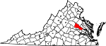 State map highlighting Hanover County