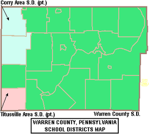 Warren County, Pennsylvania - Map of Warren County, Pennsylvania School Districts