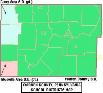 Warren County, Pennsylvania - Map of Warren County, Pennsylvania School Districts