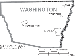 Washington Parish, Louisiana - Map of Washington Parish, Louisiana With Municipal Labels