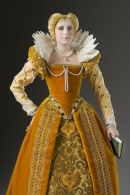 Historical wax statue of Queen Margaret of Valois produced by artist/historian George S. Stuart. MargueritedeValois Best.jpg