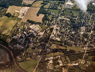 Marion, Indiana - VA hospital campus (left) south of Marion's downtown.