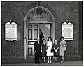 Mark Bortman, Chairman of the Civic Committee of the People-to-People Program; Mary Collins; unidentified woman; Llora Bortman; and unidentified woman outside the Old South Meeting House (10425431295).jpg