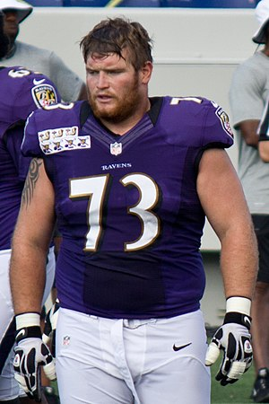 Marshal Yanda - Yanda during a Baltimore Ravens practice, August 2012.
