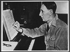 Bohuslav Martinů - Bohuslav Martinů in New York, around 1942, at the piano working on his second symphony