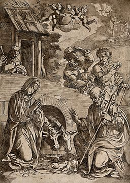 Mary, Joseph, the ass and the ox genuflect before the infant Wellcome V0034623