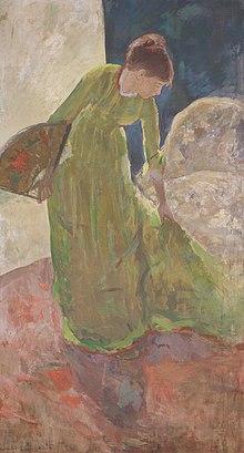 Mary Cassatt Woman Standing Holding A Fan 1878 79 Amon Carter Museum Of American Art