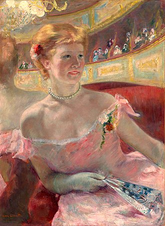 Woman with a Pearl Necklace in a Loge - Mary Cassatt, American - Woman with a Pearl Necklace, oil on canvas, 31 5/8 in x 23 in, 1879, Philadelphia Museum of Art