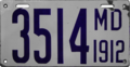 Maryland license plate, 1912.png
