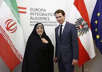 Masoumeh Ebtekar - Ebtekar with Austrian foreign minister Sebastian Kurz in 2016