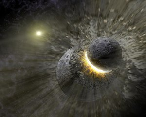 Vega - Artist's concept of a recent massive collision of dwarf planet-sized objects that may have contributed to the dust ring around the star Vega.