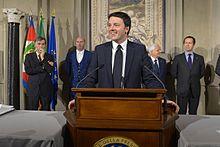 Renzi annuncia lo scioglimento della riserva e la lista dei ministri del suo governo il 21 febbraio 2014.