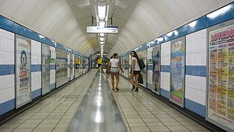 Green Park tube station - Interchange passage between Victoria and Piccadilly lines