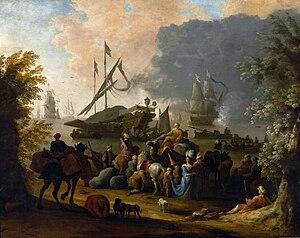 Jan Baptist van der Meiren - View of a Mediterranean port