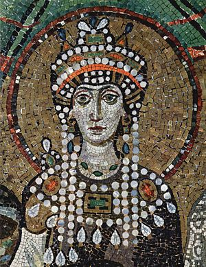 Theodora. Detail from the 6th-century mosaic &...