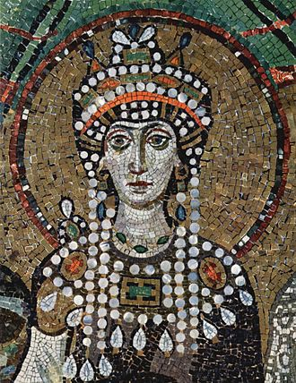 Byzantine Empire - Theodora, Justinian's wife, depicted on the mosaics of the Basilica of San Vitale, Ravenna.