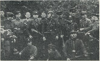 Lithuanian partisans - Image: Members of the Lithuanian partisans (Zalgiris Territorial Defense Force) in 1946