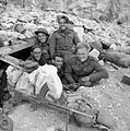 Men of the Royal West Kent Regiment in a dugout on Monastery Hill at Cassino, Italy, 26 March 1944. NA13362.jpg