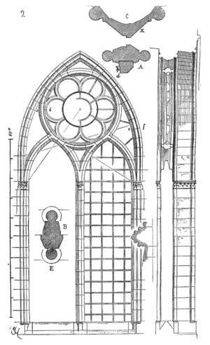 Tracery - Bar tracery in the clerestory windows at Reims Cathedral (1230s). Note the cross section through a mullion shown within the left lancet.