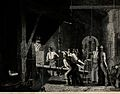 Metalwork; a blacksmith's forge. Mezzotint by J. Sharples af Wellcome V0024696.jpg