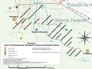 Mexico City Metro lines - Map of Line 12