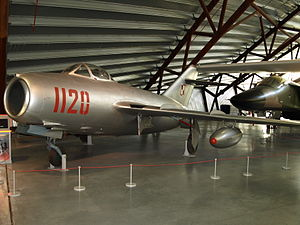 Royal Air Force Museum Cosford - The Mikoyan MiG-15bis on display in the National Cold War Exhibition