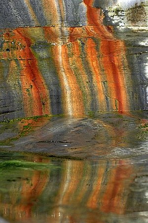 Chalybeate - Mineral Stains, Rosedale Cliffs -  marks caused by chalybeate waters