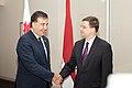 Ministru prezidents Valdis Dombrovskis tiekas ar Gruzijas Valsts prezidentu Mihailu Saakašvili (7300446832).jpg