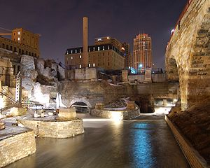 Mill Ruins Park - This picture shows the output of one of the water power canals that powered mills at Saint Anthony Falls.  The west end of the Stone Arch Bridge is directly overhead.
