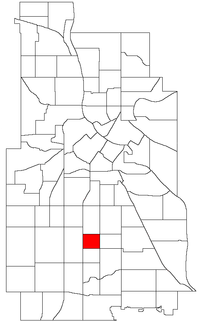 Location of Bryant within the U.S. city of Minneapolis
