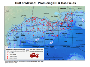 Mississippi Canyon - Off shore oil and gas fields in the Gulf of Mexico. The Mississippi Canyon leasing area is delineated in the upper right, south of the Mississippi River outlet.