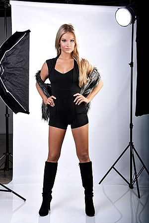 Model (person) - Model Caitlin O'Connor posing on a typical studio shooting set