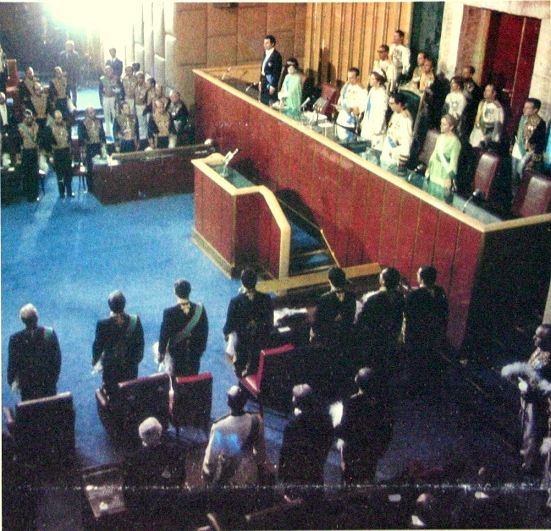 Mohammad-Reza Shah Pahlavi and the Royal Family at Persian Senate, Tehran, 1975.