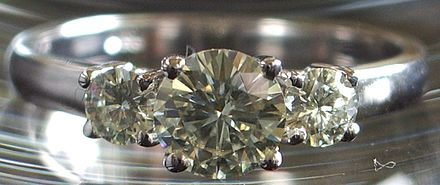 Gem-cut synthetic silicon carbide set in a ring Moissanite ring.JPG