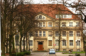 Heinrich Koppers - former headquarters of Heinrich Koppers AG; enlarge image to read inscription above front door; picture of 2009