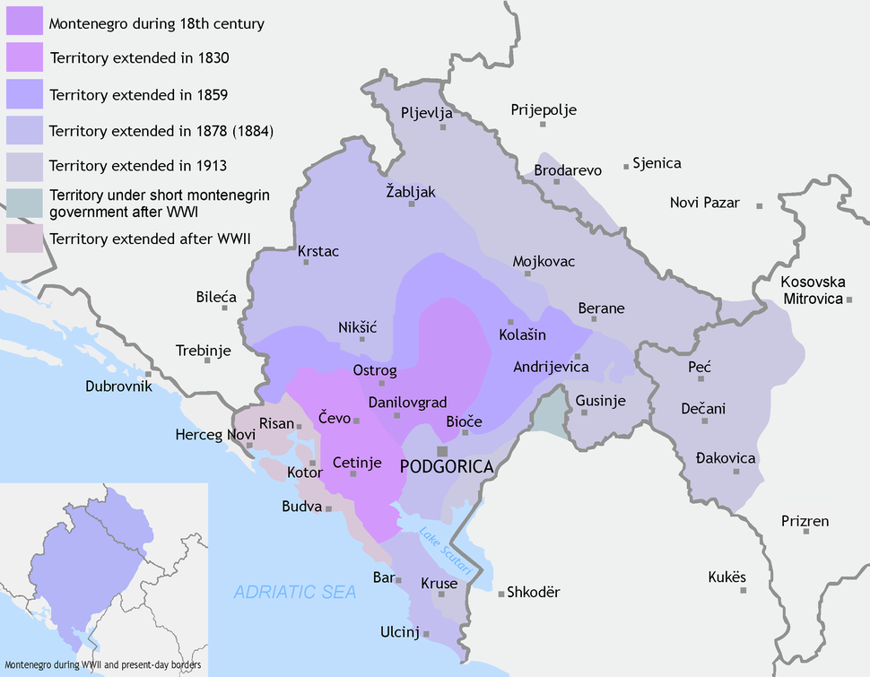 Montenegro territory expanded (1830-1944)