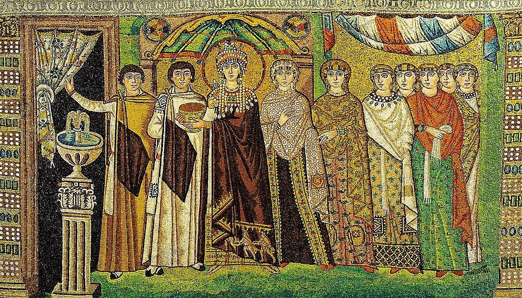 Questa immagine ha l'attributo alt vuoto; il nome del file è 1024px-Mosaic_of_Theodora_-_Basilica_San_Vitale_%28Ravenna%2C_Italy%29.jpg