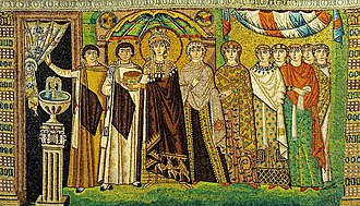 Byzantine Empire - Empress Theodora and attendants (Mosaic from Basilica of San Vitale, 6th century).