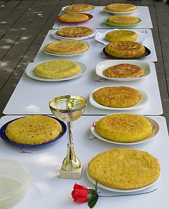Spanish omelette - Tortilla competition in the Basque Country in Northern Spain