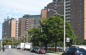 Moss Park - The towers of the Moss Park housing project rise along Shuter Street.