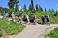 Mount Rainier - Paradise, August 2014 - climbers coming down the Skyline Trail 01.jpg