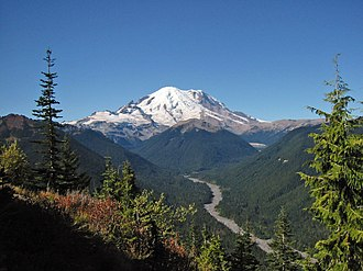 Cascade Volcanoes - Mount Rainier from the northeast