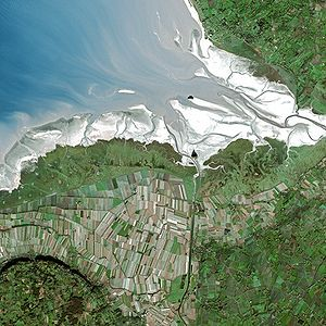 Mont Saint-Michel Bay - The mont Saint-Michel bay seen from space.