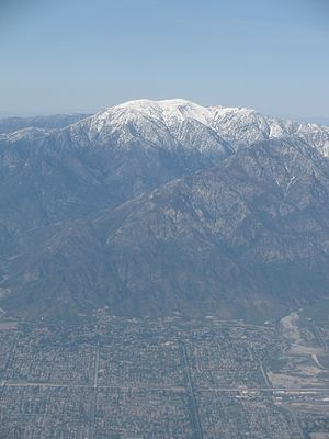 Mount San Antonio - Aerial view of Mt. San Antonio, facing north.