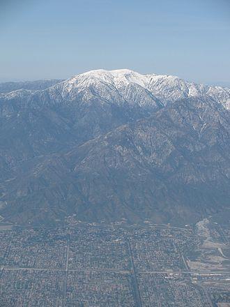 Mount San Antonio - Aerial view of Mt. San Antonio, facing north.