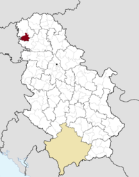 Location of the municipality of Odžaci within Serbia